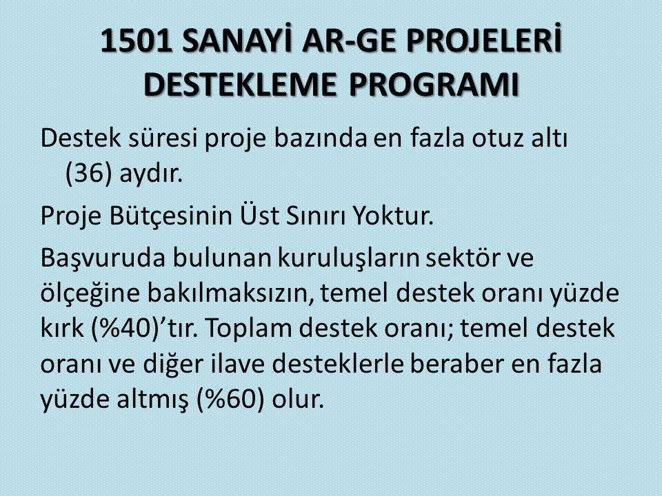 1501 SANAYİ AR-GE PROJELERİ DESTEKLEME PROGRAMI Destek süresi proje bazında en fazla otuz altı (36) aydır. Proje Bütçesinin Üst Sınırı Yoktur. Başvuru