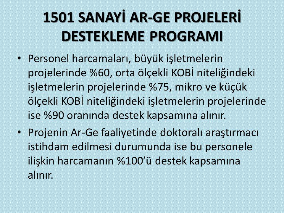 1501 SANAYİ AR-GE PROJELERİ DESTEKLEME PROGRAMI Personel harcamaları, büyük işletmelerin projelerinde %60, orta ölçekli KOBİ niteliğindeki işletmeleri