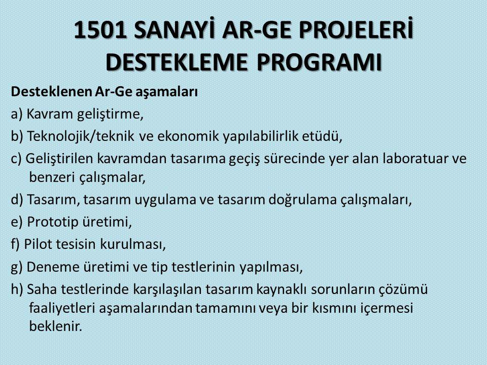 1501 SANAYİ AR-GE PROJELERİ DESTEKLEME PROGRAMI Desteklenen Ar-Ge aşamaları a) Kavram geliştirme, b) Teknolojik/teknik ve ekonomik yapılabilirlik etüd