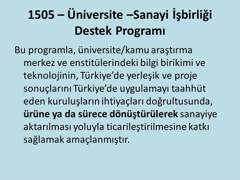 1505 – Üniversite –Sanayi İşbirliği Destek Programı Bu programla, üniversite/kamu araştırma merkez ve enstitülerindeki bilgi birikimi ve teknolojinin,
