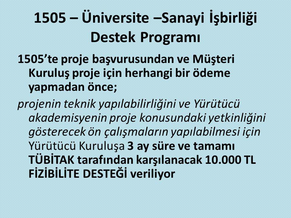 1505 – Üniversite –Sanayi İşbirliği Destek Programı 1505'te proje başvurusundan ve Müşteri Kuruluş proje için herhangi bir ödeme yapmadan önce; projen