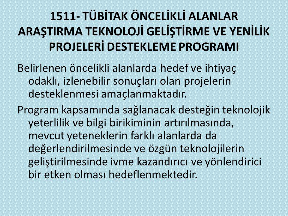 1511- TÜBİTAK ÖNCELİKLİ ALANLAR ARAŞTIRMA TEKNOLOJİ GELİŞTİRME VE YENİLİK PROJELERİ DESTEKLEME PROGRAMI Belirlenen öncelikli alanlarda hedef ve ihtiya