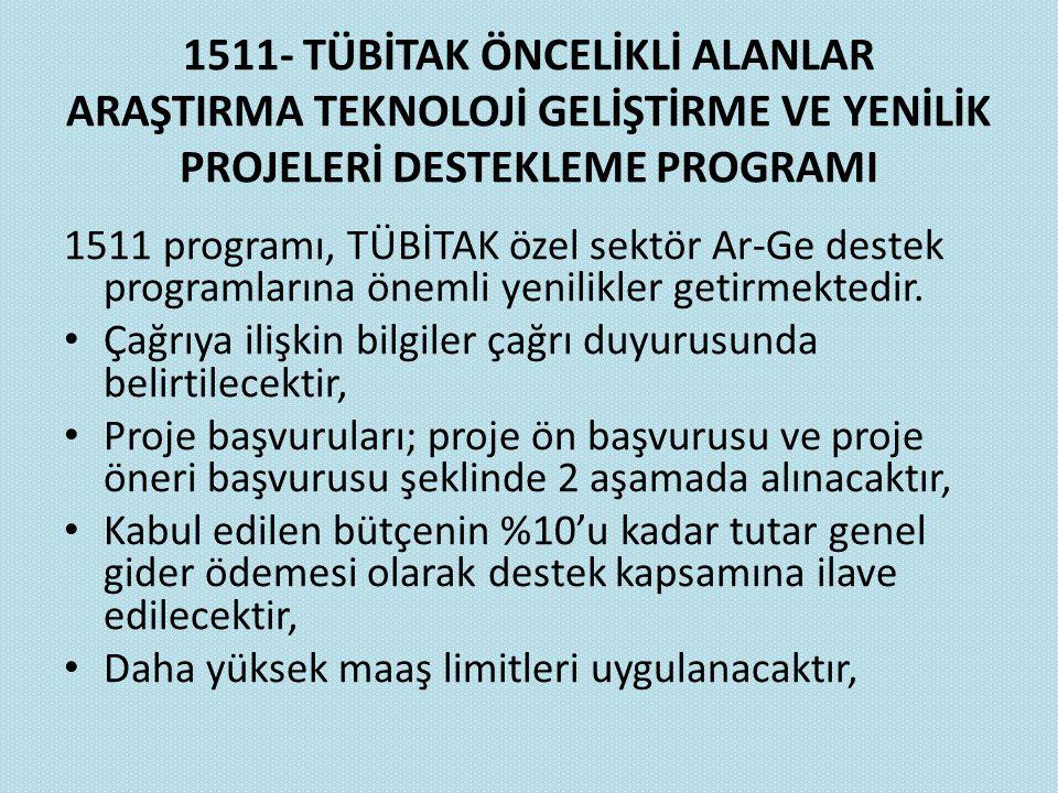 1511- TÜBİTAK ÖNCELİKLİ ALANLAR ARAŞTIRMA TEKNOLOJİ GELİŞTİRME VE YENİLİK PROJELERİ DESTEKLEME PROGRAMI 1511 programı, TÜBİTAK özel sektör Ar-Ge deste