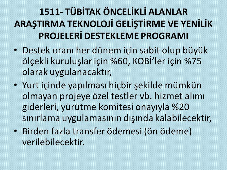 1511- TÜBİTAK ÖNCELİKLİ ALANLAR ARAŞTIRMA TEKNOLOJİ GELİŞTİRME VE YENİLİK PROJELERİ DESTEKLEME PROGRAMI Destek oranı her dönem için sabit olup büyük ö