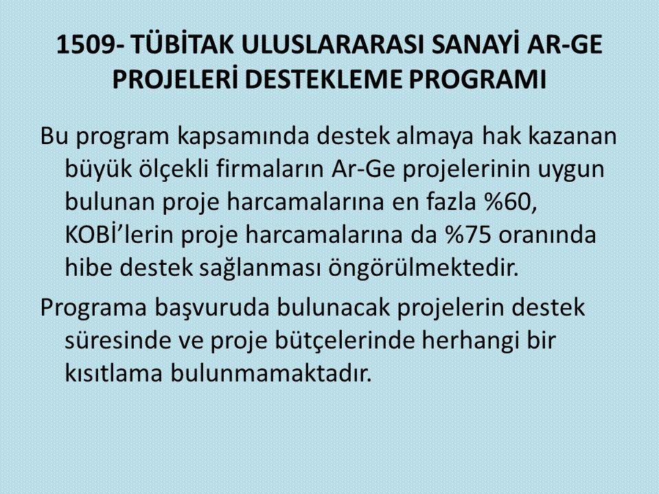 1509- TÜBİTAK ULUSLARARASI SANAYİ AR-GE PROJELERİ DESTEKLEME PROGRAMI Bu program kapsamında destek almaya hak kazanan büyük ölçekli firmaların Ar-Ge p
