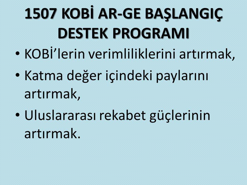 1507 KOBİ AR-GE BAŞLANGIÇ DESTEK PROGRAMI KOBİ'lerin verimliliklerini artırmak, Katma değer içindeki paylarını artırmak, Uluslararası rekabet güçlerin
