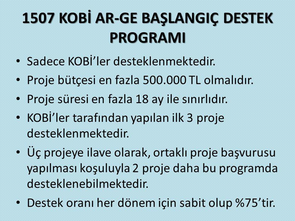 1507 KOBİ AR-GE BAŞLANGIÇ DESTEK PROGRAMI Sadece KOBİ'ler desteklenmektedir. Proje bütçesi en fazla 500.000 TL olmalıdır. Proje süresi en fazla 18 ay
