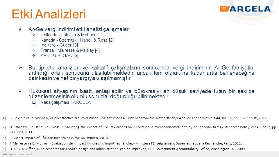 Etki Analizleri  Ar-Ge vergi indirimi etki analizi çalışmaları  Hollanda - Lokshin & Mohnen [1]  Kanada - Czarnitzki, Hanel, & Rosa [2]  İngiltere