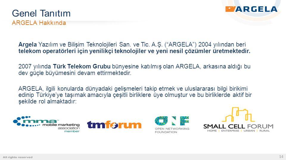 """14 Argela Yazılım ve Bilişim Teknolojileri San. ve Tic. A.Ş. (""""ARGELA"""") 2004 yılından beri telekom operatörleri için yenilikçi teknolojiler ve yeni ne"""