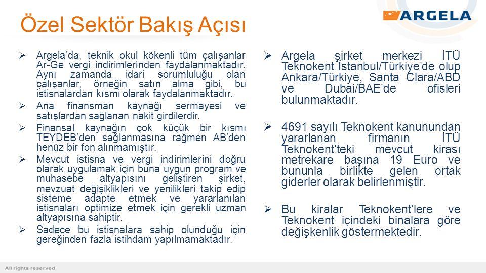  Argela'da, teknik okul kökenli tüm çalışanlar Ar-Ge vergi indirimlerinden faydalanmaktadır. Aynı zamanda idari sorumluluğu olan çalışanlar, örneğin