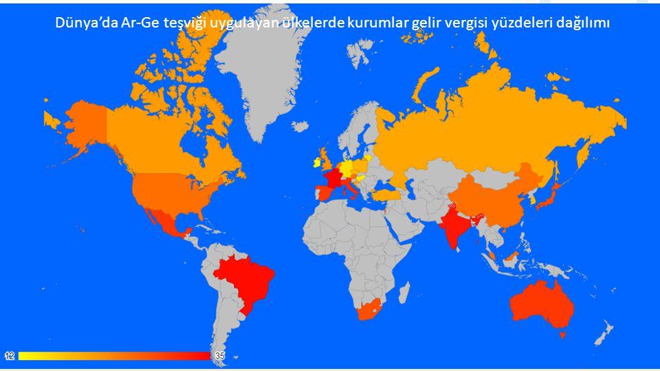 Dünya'da Ar-Ge teşviği uygulayan ülkelerde kurumlar gelir vergisi yüzdeleri dağılımı