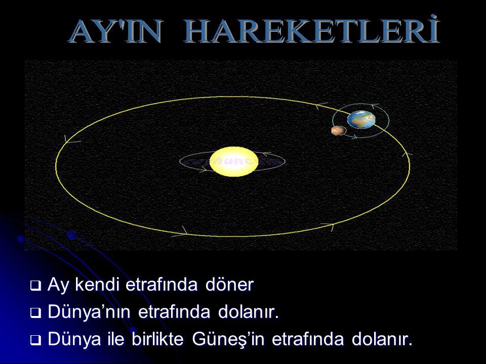  Ay kendi etrafında döner  Dünya'nın etrafında dolanır.  Dünya ile birlikte Güneş'in etrafında dolanır.