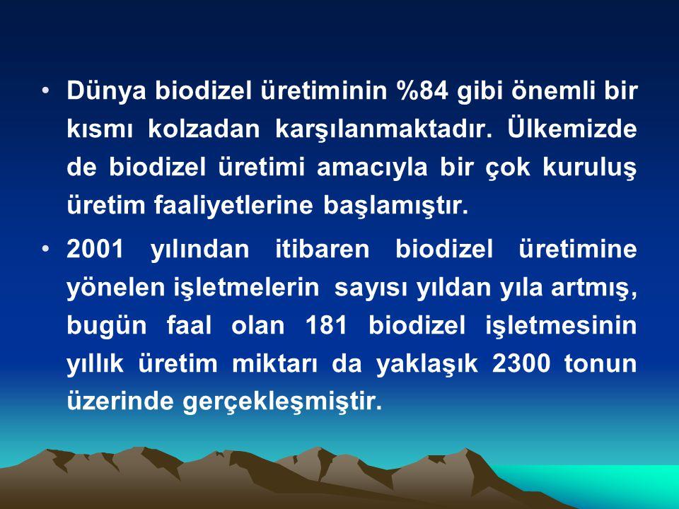 Dünya biodizel üretiminin %84 gibi önemli bir kısmı kolzadan karşılanmaktadır. Ülkemizde de biodizel üretimi amacıyla bir çok kuruluş üretim faaliyetl