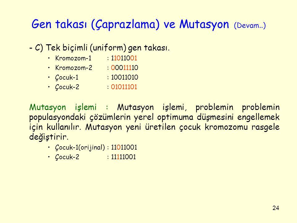 24 Gen takası (Çaprazlama) ve Mutasyon (Devam..) - C) Tek biçimli (uniform) gen takası. Kromozom-1: 11011001 Kromozom-2: 00011110 Çocuk-1: 10011010 Ço