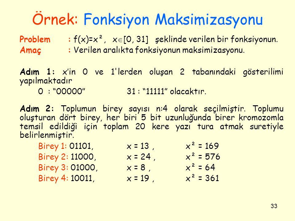 33 Örnek: Fonksiyon Maksimizasyonu Problem: f(x)=x², x  [0, 31] şeklinde verilen bir fonksiyonun. Amaç: Verilen aralıkta fonksiyonun maksimizasyonu.