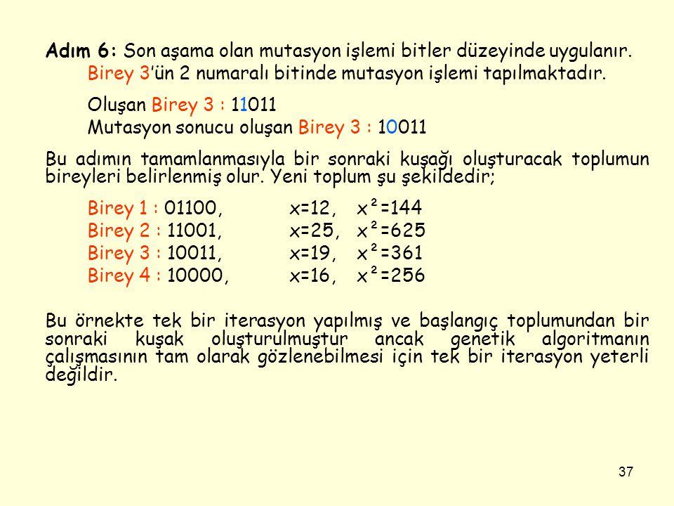 37 Adım 6: Son aşama olan mutasyon işlemi bitler düzeyinde uygulanır. Birey 3'ün 2 numaralı bitinde mutasyon işlemi tapılmaktadır. Oluşan Birey 3 : 11
