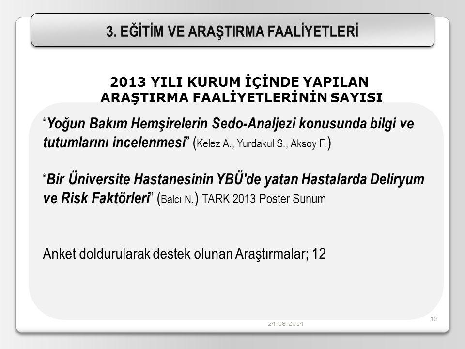 """24.08.2014 13 """" Yoğun Bakım Hemşirelerin Sedo-Analjezi konusunda bilgi ve tutumlarını incelenmesi """" ( Kelez A., Yurdakul S., Aksoy F. ) """" Bir Üniversi"""