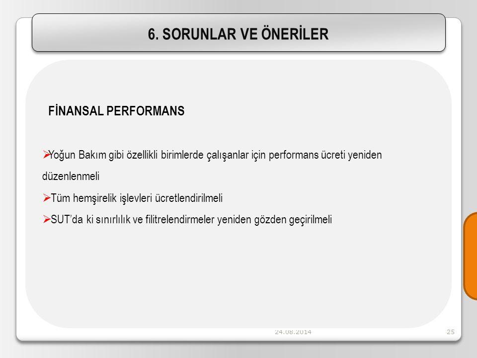 24.08.201425 FİNANSAL PERFORMANS  Yoğun Bakım gibi özellikli birimlerde çalışanlar için performans ücreti yeniden düzenlenmeli  Tüm hemşirelik işlev