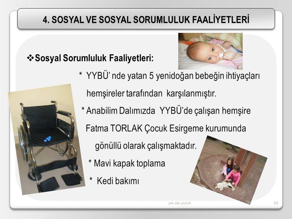 24.08.201416 4. SOSYAL VE SOSYAL SORUMLULUK FAALİYETLERİ  Sosyal Sorumluluk Faaliyetleri: * YYBÜ' nde yatan 5 yenidoğan bebeğin ihtiyaçları hemşirele