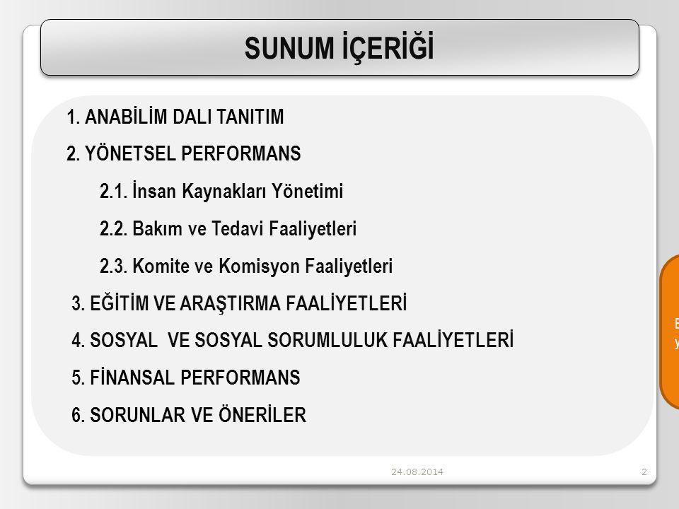 24.08.20142 1.ANABİLİM DALI TANITIM 2. YÖNETSEL PERFORMANS 2.1.