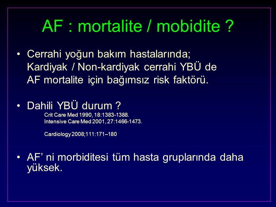 AF : mortalite / mobidite ? Cerrahi yoğun bakım hastalarında; Kardiyak / Non-kardiyak cerrahi YBÜ de AF mortalite için bağımsız risk faktörü. Dahili Y