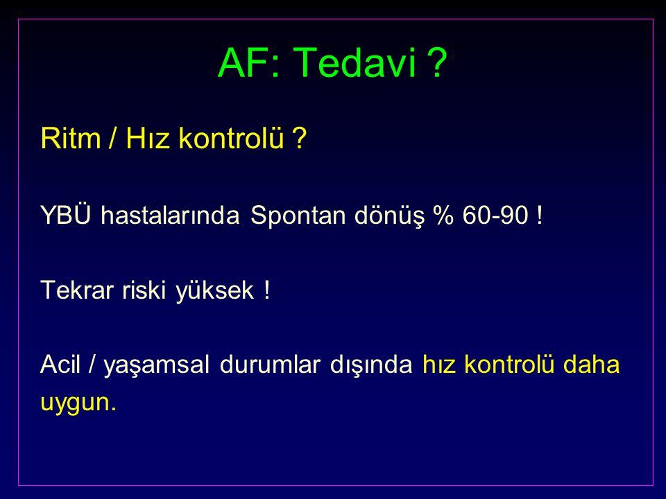 AF: Tedavi ? Ritm / Hız kontrolü ? YBÜ hastalarında Spontan dönüş % 60-90 ! Tekrar riski yüksek ! Acil / yaşamsal durumlar dışında hız kontrolü daha u