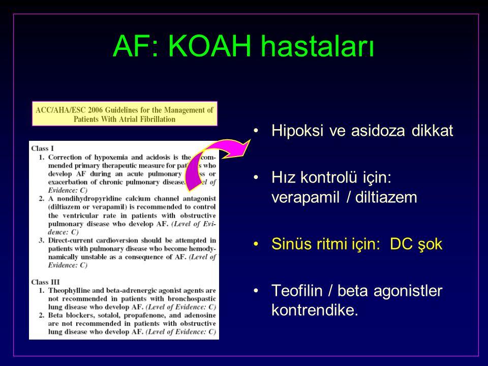 AF: KOAH hastaları Hipoksi ve asidoza dikkat Hız kontrolü için: verapamil / diltiazem Sinüs ritmi için: DC şok Teofilin / beta agonistler kontrendike.