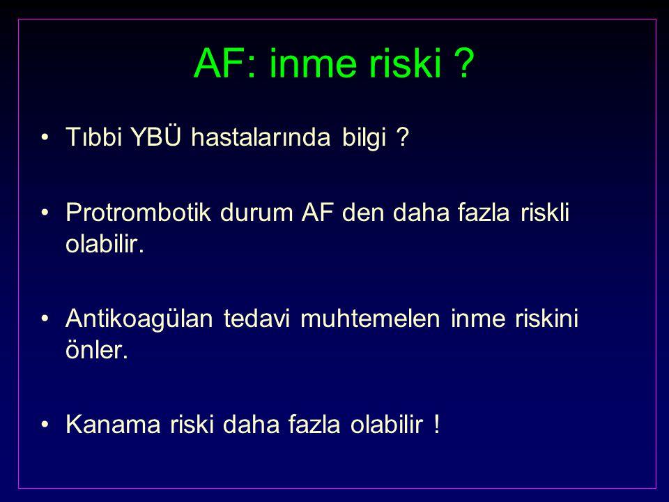 AF: inme riski ? Tıbbi YBÜ hastalarında bilgi ? Protrombotik durum AF den daha fazla riskli olabilir. Antikoagülan tedavi muhtemelen inme riskini önle