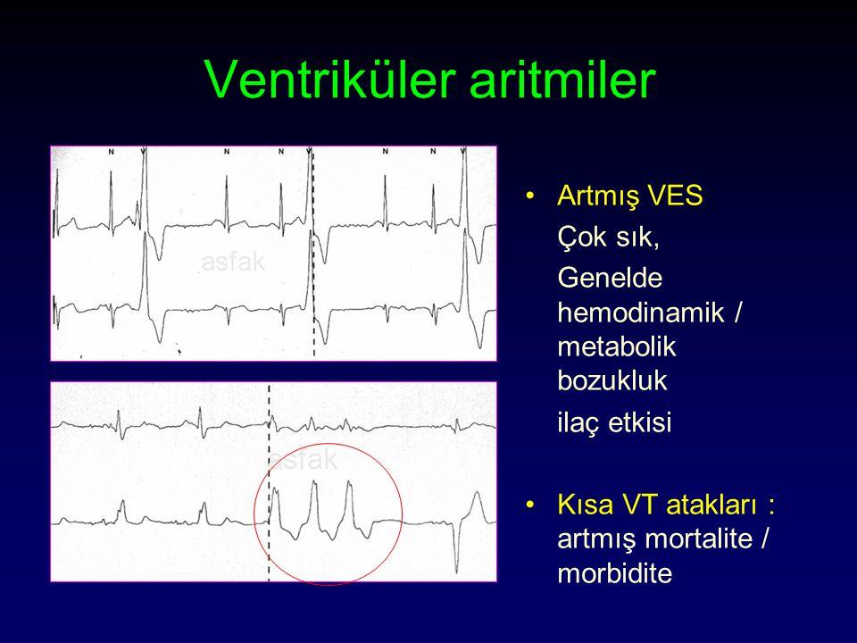 Ventriküler aritmiler Artmış VES Çok sık, Genelde hemodinamik / metabolik bozukluk ilaç etkisi Kısa VT atakları : artmış mortalite / morbidite