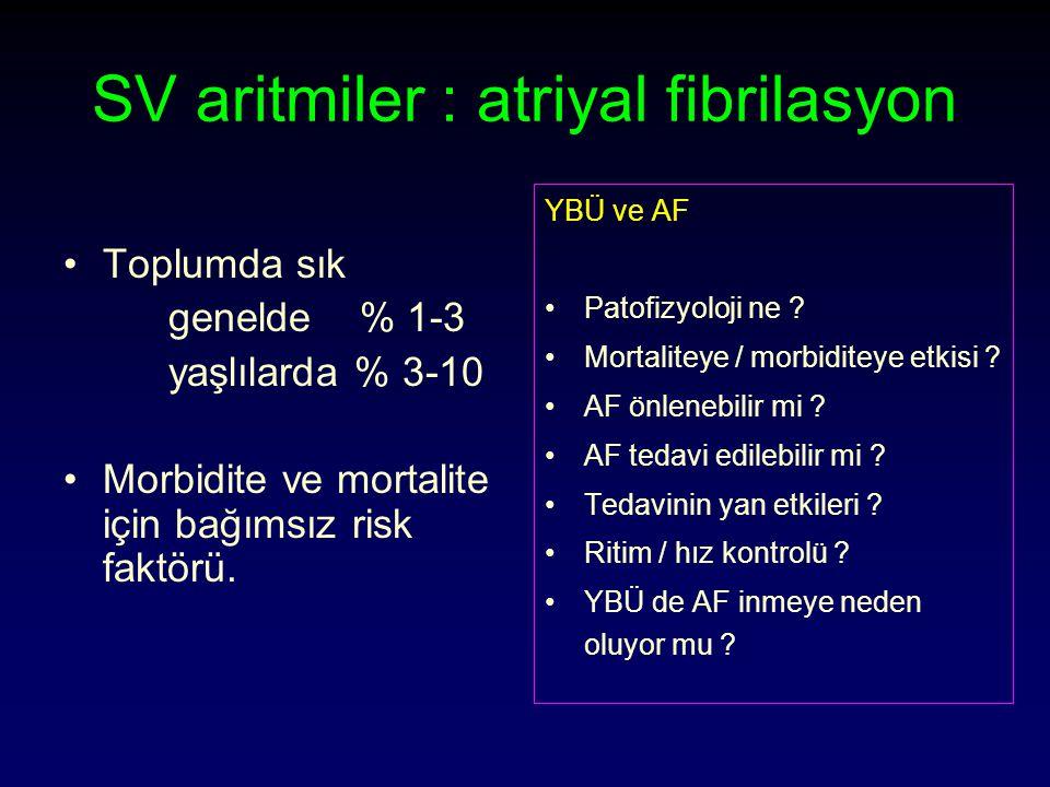 SV aritmiler : atriyal fibrilasyon Toplumda sık genelde % 1-3 yaşlılarda % 3-10 Morbidite ve mortalite için bağımsız risk faktörü.