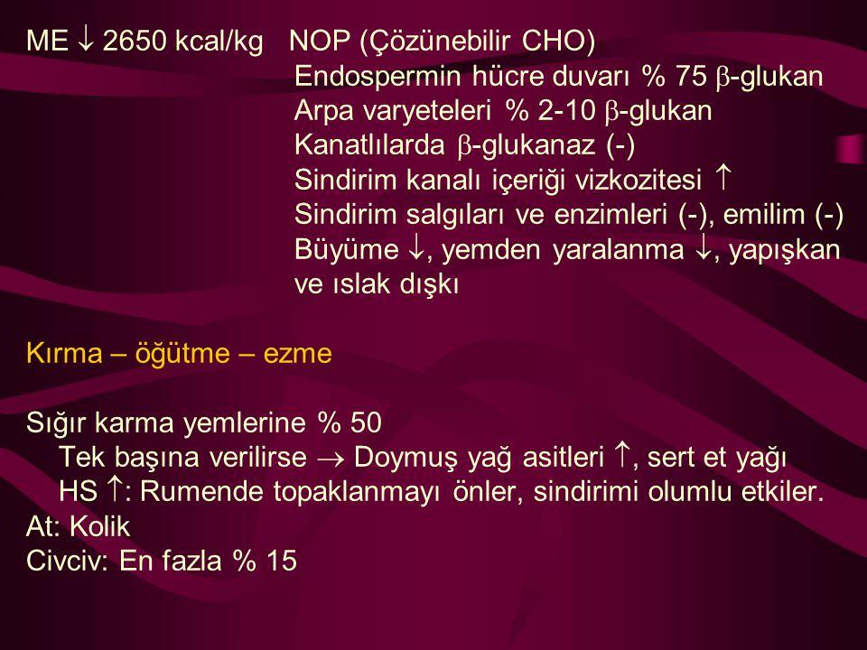 ME  2650 kcal/kg NOP (Çözünebilir CHO) Endospermin hücre duvarı % 75  -glukan Arpa varyeteleri % 2-10  -glukan Kanatlılarda  -glukanaz (-) Sindiri