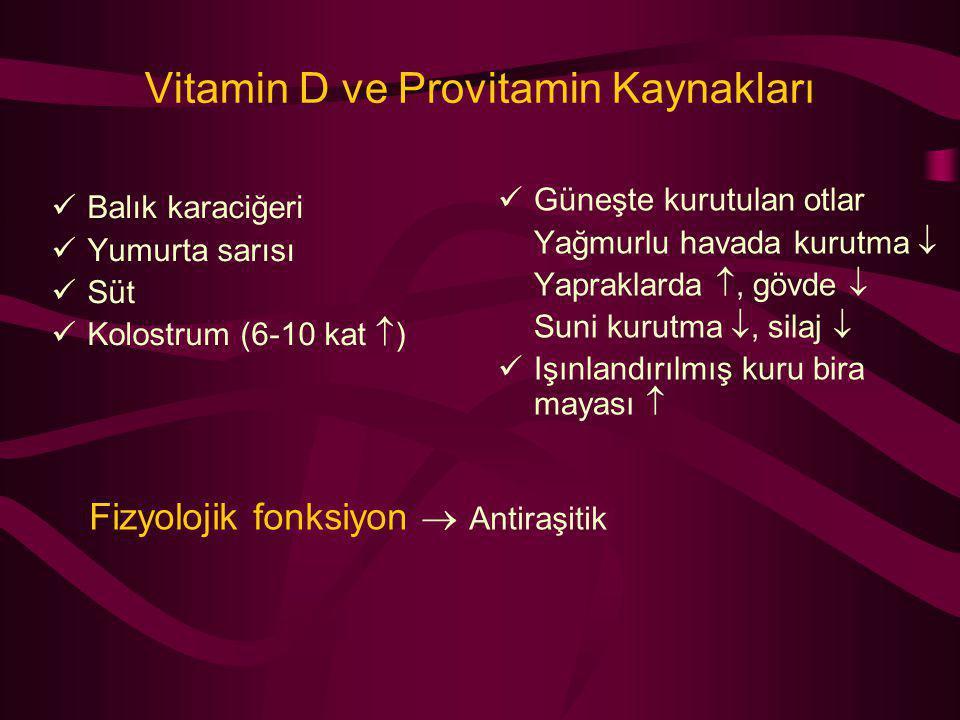 Vitamin D ve Provitamin Kaynakları Balık karaciğeri Yumurta sarısı Süt Kolostrum (6-10 kat  ) Güneşte kurutulan otlar Yağmurlu havada kurutma  Yapra