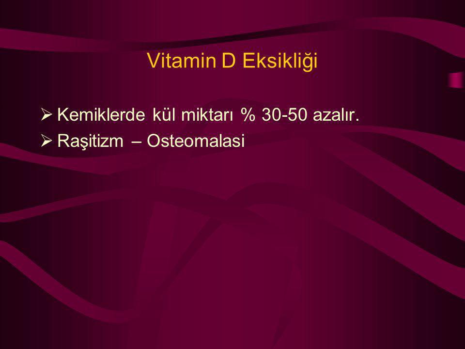 Vitamin D Eksikliği  Kemiklerde kül miktarı % 30-50 azalır.  Raşitizm – Osteomalasi