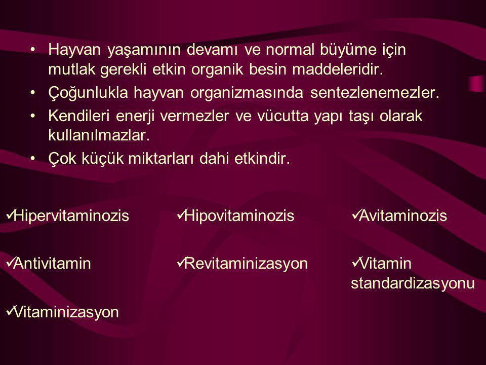 VitaminKimyasal adı Yağda eriyenler ARetinol DKolekalsiferol (D 3 ), Ergokalsiferol (D 2 ) ETokoferol KFillokinon-Menadion Suda eriyenler B Grubu vitaminlerTiamin (B 1 ), Riboflavin (B 2 ), Nikotinamid, Piridoksin (B 6 ), Pantotenik asit,Biyotin, Folasin, Kolin, Siyanokobalamin (B 12 ) CAskorbik asit