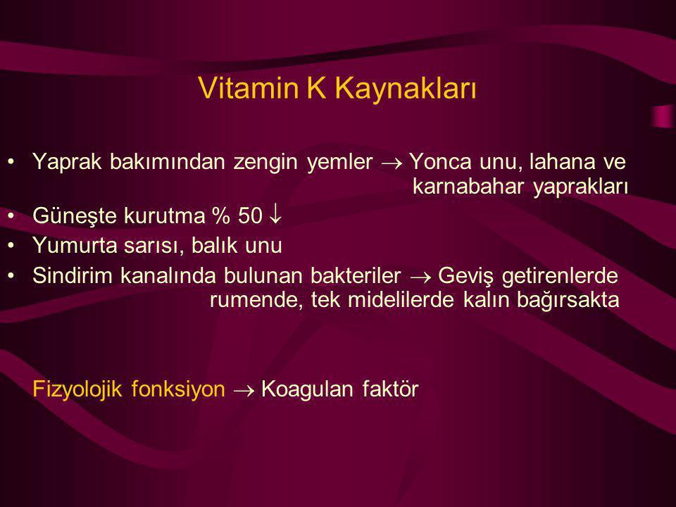 Vitamin K Kaynakları Yaprak bakımından zengin yemler  Yonca unu, lahana ve karnabahar yaprakları Güneşte kurutma % 50  Yumurta sarısı, balık unu Sin