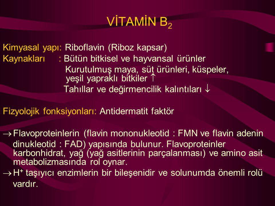 VİTAMİN B 2 Kimyasal yapı: Riboflavin (Riboz kapsar) Kaynakları : Bütün bitkisel ve hayvansal ürünler Kurutulmuş maya, süt ürünleri, küspeler, yeşil y