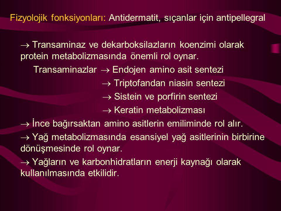 Fizyolojik fonksiyonları: Antidermatit, sıçanlar için antipellegral  Transaminaz ve dekarboksilazların koenzimi olarak protein metabolizmasında öneml