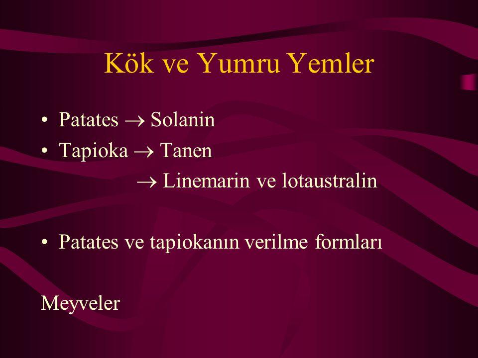 Kök ve Yumru Yemler Patates  Solanin Tapioka  Tanen  Linemarin ve lotaustralin Patates ve tapiokanın verilme formları Meyveler
