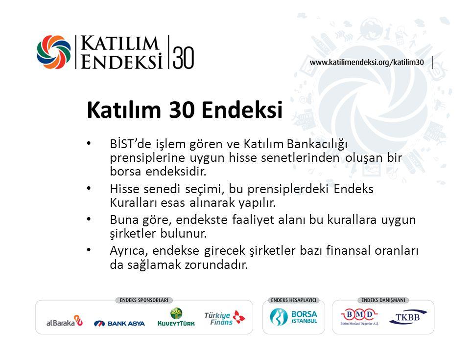 Katılım 30 Endeksi BİST'de işlem gören ve Katılım Bankacılığı prensiplerine uygun hisse senetlerinden oluşan bir borsa endeksidir.