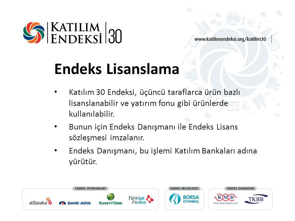 Endeks Lisanslama Katılım 30 Endeksi, üçüncü taraflarca ürün bazlı lisanslanabilir ve yatırım fonu gibi ürünlerde kullanılabilir.