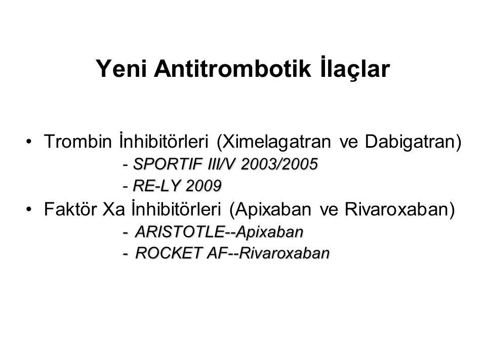 Yeni Antitrombotik İlaçlar Trombin İnhibitörleri (Ximelagatran ve Dabigatran) SPORTIF III/V 2003/2005 - SPORTIF III/V 2003/2005 RE-LY 2009 - RE-LY 200