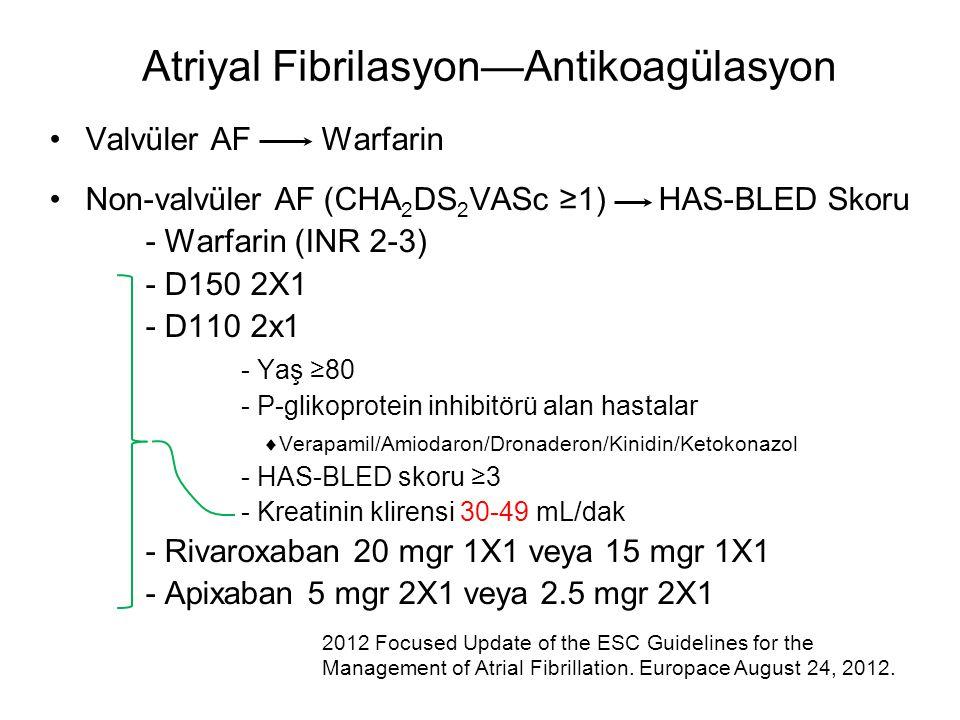 Valvüler AF Warfarin Non-valvüler AF (CHA 2 DS 2 VASc ≥1) HAS-BLED Skoru - Warfarin (INR 2-3) - D150 2X1 - D110 2x1 - Yaş ≥80 - P-glikoprotein inhibit