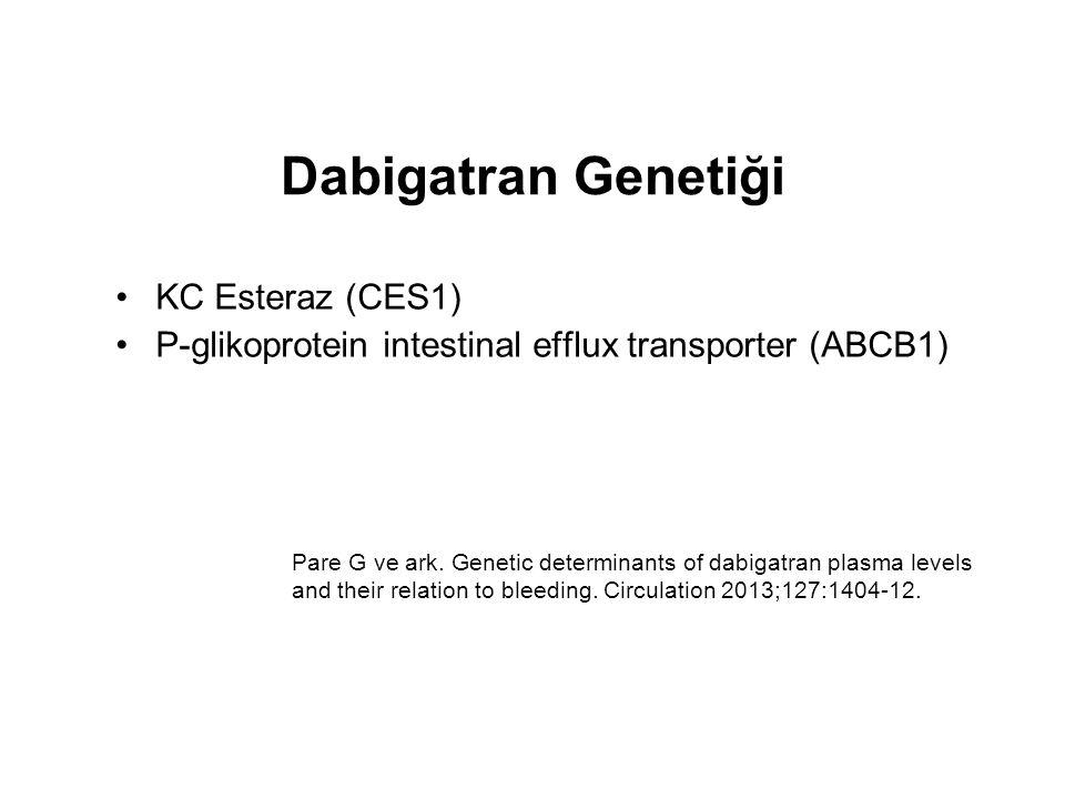 Dabigatran Genetiği KC Esteraz (CES1) P-glikoprotein intestinal efflux transporter (ABCB1) Pare G ve ark. Genetic determinants of dabigatran plasma le
