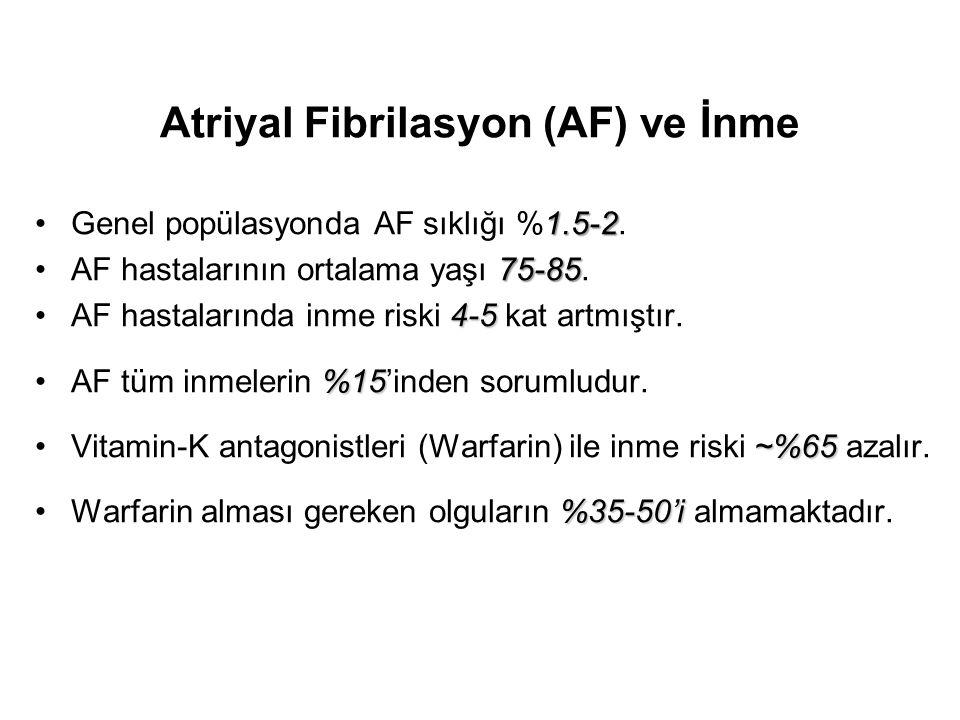 Atriyal Fibrilasyon (AF) ve İnme 1.5-2Genel popülasyonda AF sıklığı %1.5-2. 75-85AF hastalarının ortalama yaşı 75-85. 4-5AF hastalarında inme riski 4-