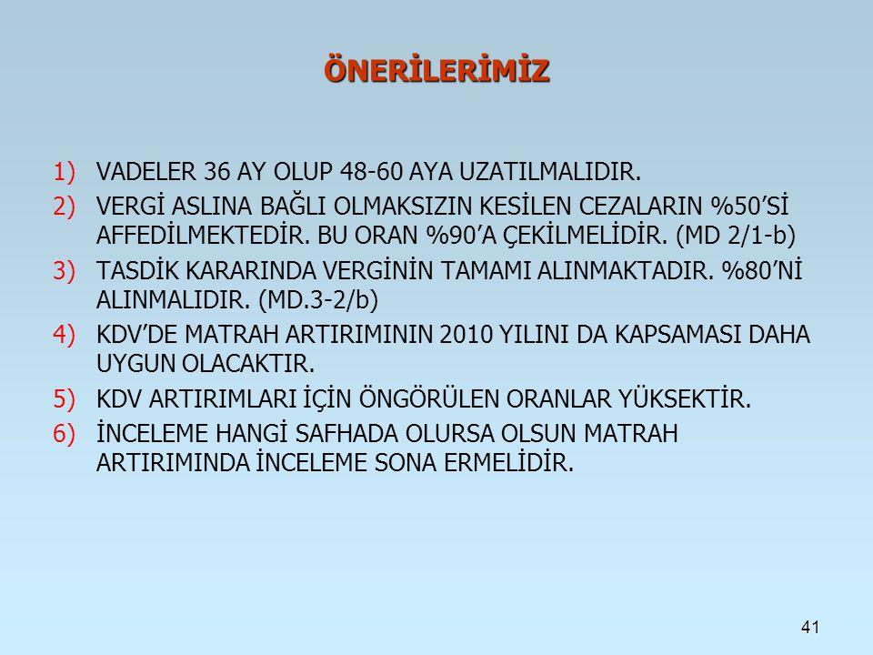 ÖNERİLERİMİZ 1) 1)VADELER 36 AY OLUP 48-60 AYA UZATILMALIDIR.