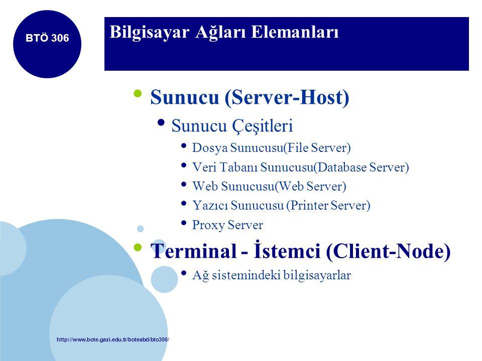 http://www.bote.gazi.edu.tr/boteabd/bto306/ BTÖ 306 Bilgisayar Ağları Elemanları Sunucu (Server-Host) Sunucu Çeşitleri Dosya Sunucusu(File Server) Ver