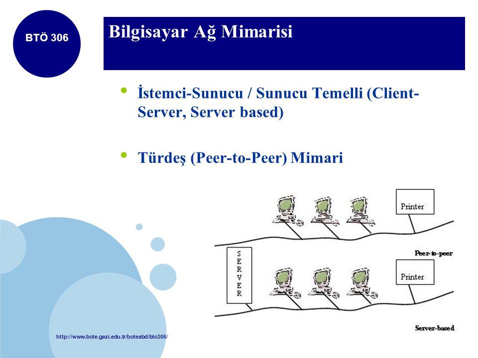 http://www.bote.gazi.edu.tr/boteabd/bto306/ BTÖ 306 Bilgisayar Ağ Mimarisi İstemci-Sunucu / Sunucu Temelli (Client- Server, Server based) Türdeş (Peer