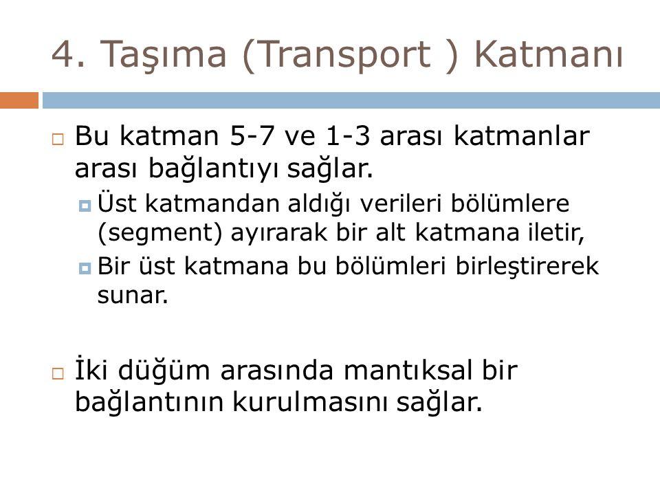 4.Taşıma (Transport ) Katmanı  Bu katman 5-7 ve 1-3 arası katmanlar arası bağlantıyı sağlar.
