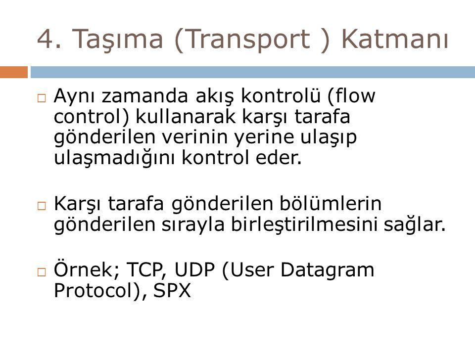 4. Taşıma (Transport ) Katmanı  Aynı zamanda akış kontrolü (flow control) kullanarak karşı tarafa gönderilen verinin yerine ulaşıp ulaşmadığını kontr