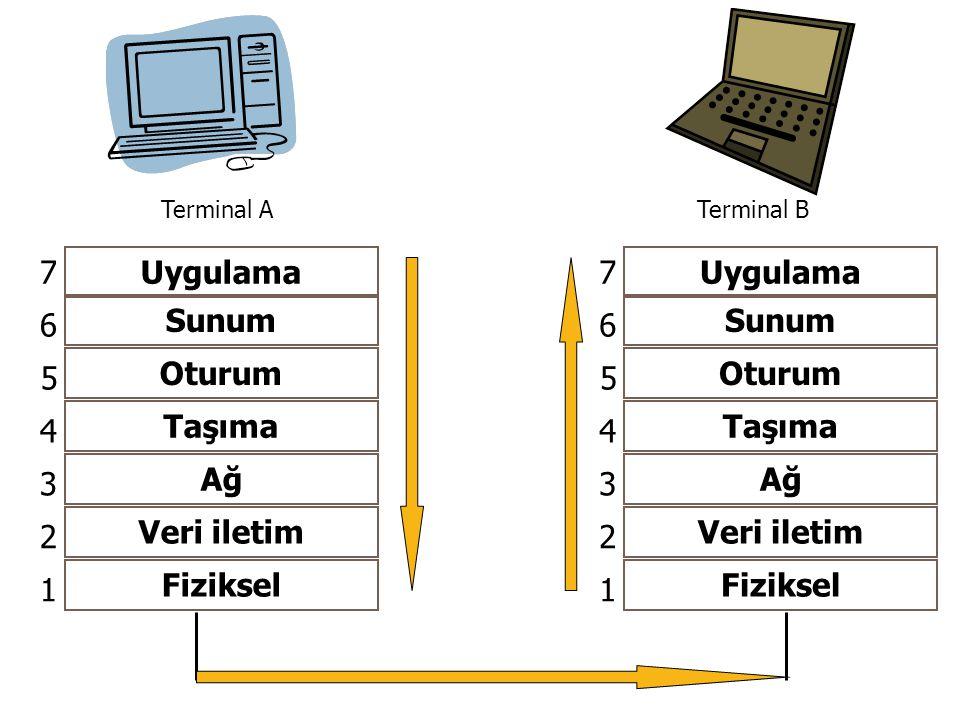 Uygulama Sunum Oturum Taşıma Ağ Veri iletim Fiziksel 1 2 3 4 5 6 7 Terminal ATerminal B Uygulama Sunum Oturum Taşıma Ağ Veri iletim Fiziksel 1 2 3 4 5 6 7